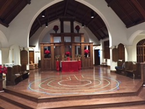 Christmas Labyrinth on Chancel floor